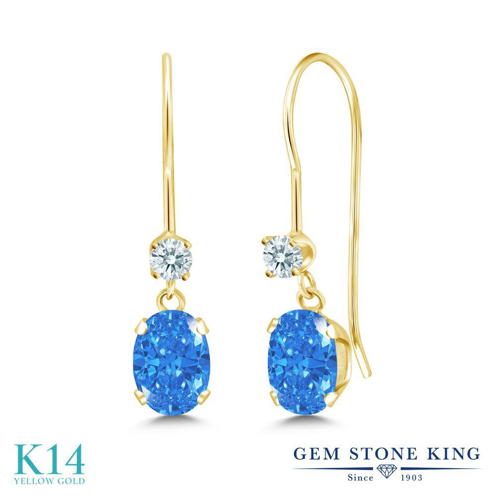Gem Stone King 0.96カラット スワロフスキージルコニア(ファンシーブルー) 14金 イエローゴールド(K14) ピアス レディース CZ 小粒 ぶら下がり アメリカン フック 金属アレルギー対応 誕生日プレゼント