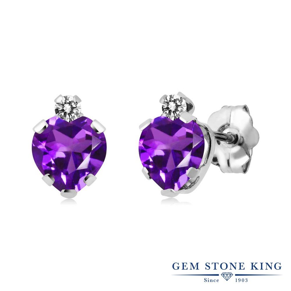 Gem Stone King 0.86カラット 天然 アメジスト 天然 ダイヤモンド シルバー925 ピアス レディース 小粒 スタッド 天然石 2月 誕生石 金属アレルギー対応 誕生日プレゼント