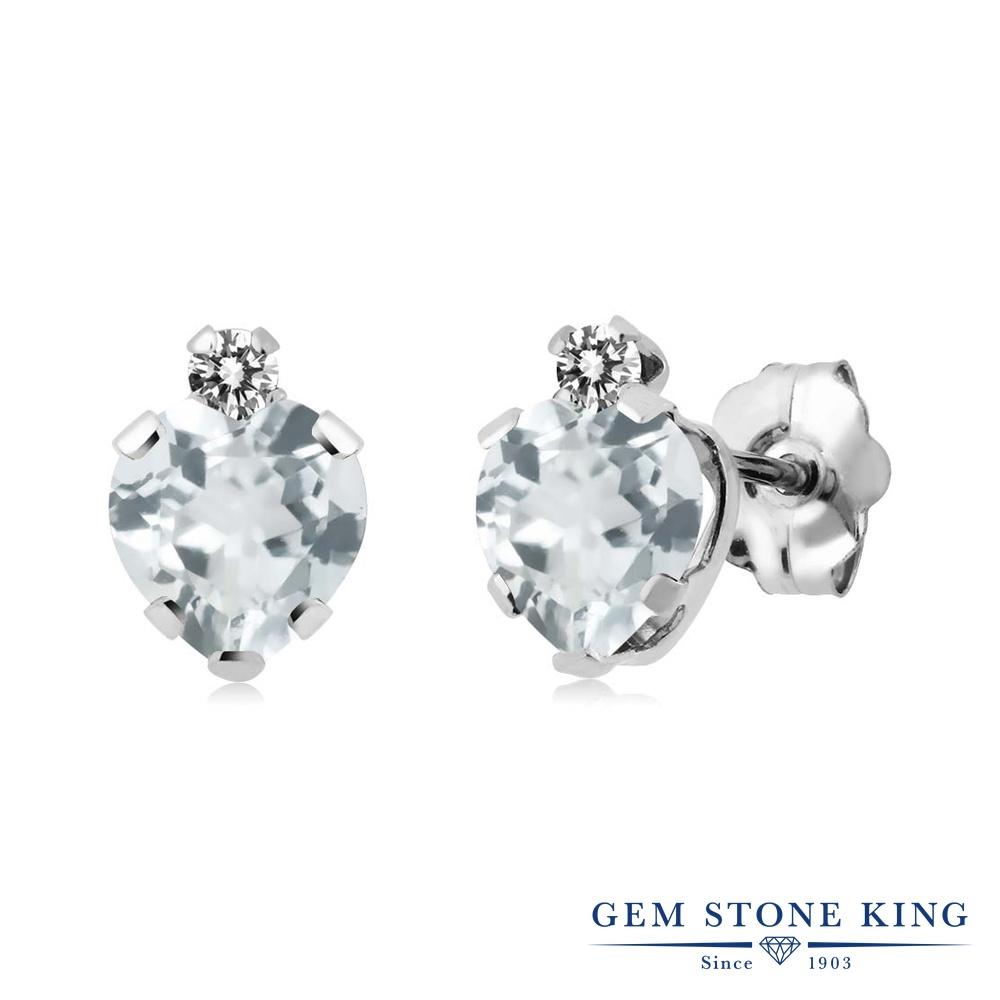 Gem Stone King 0.82カラット 天然アクアマリン シルバー925 天然ダイヤモンド ピアス レディース 小粒 スタッド 天然石 誕生石 金属アレルギー対応 誕生日プレゼント