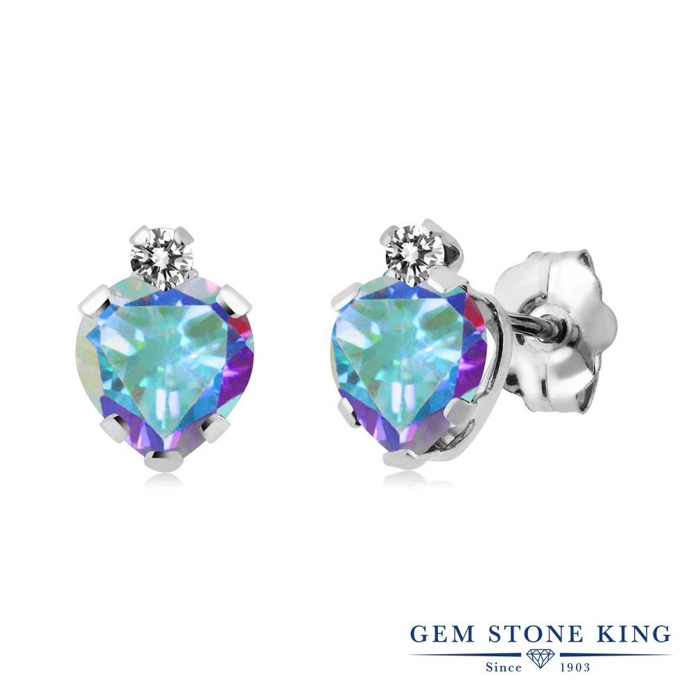 Gem Stone King 1.18カラット 天然石 ミスティックトパーズ (マーキュリーミスト) 天然 ダイヤモンド シルバー925 ピアス レディース スタッド 天然石 金属アレルギー対応 誕生日プレゼント