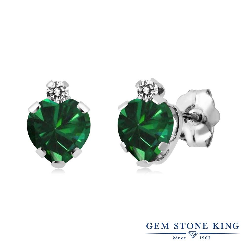 Gem Stone King 0.92カラット ナノエメラルド 天然 ダイヤモンド シルバー925 ピアス レディース 小粒 スタッド 金属アレルギー対応 誕生日プレゼント