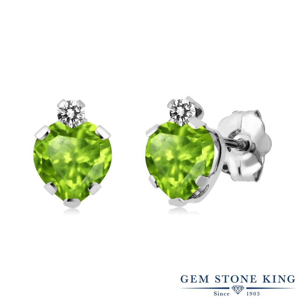 Gem Stone King 1.08カラット 天然石 ペリドット 天然 ダイヤモンド シルバー925 ピアス レディース スタッド 天然石 8月 誕生石 金属アレルギー対応 誕生日プレゼント