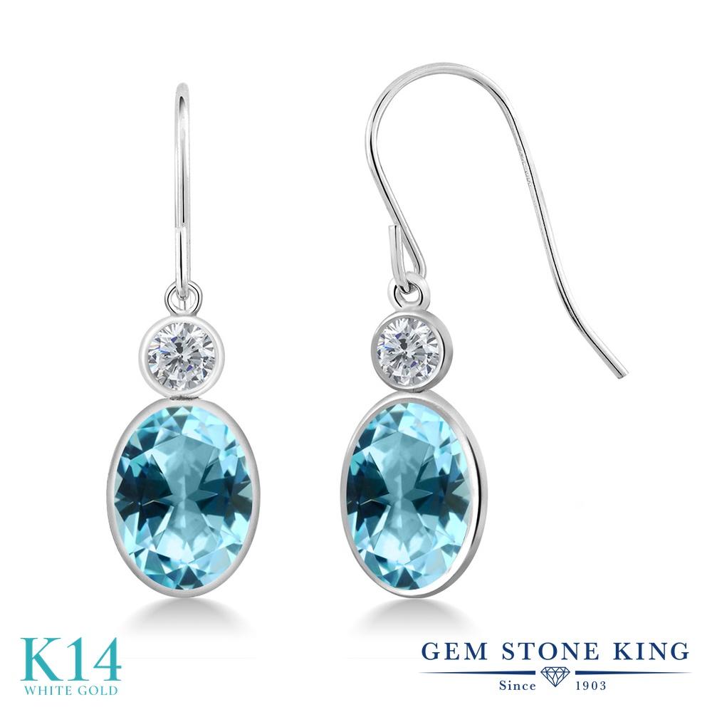 Gem Stone King 2.84カラット 天然石 アイスブルートパーズ (スワロフスキー 天然石シリーズ) 天然 ダイヤモンド 14金 ホワイトゴールド(K14) ピアス レディース 大粒 ぶら下がり フレンチワイヤー 天然石 金属アレルギー対応 誕生日プレゼント
