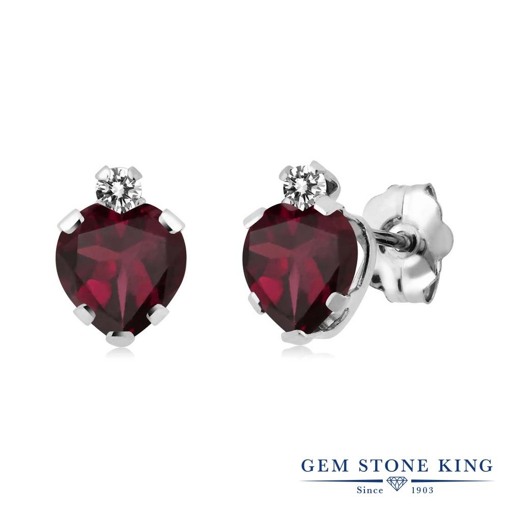 Gem Stone King 1.16カラット 天然ロードライトガーネット シルバー925 天然ダイヤモンド ピアス レディース スタッド 天然石 金属アレルギー対応 誕生日プレゼント
