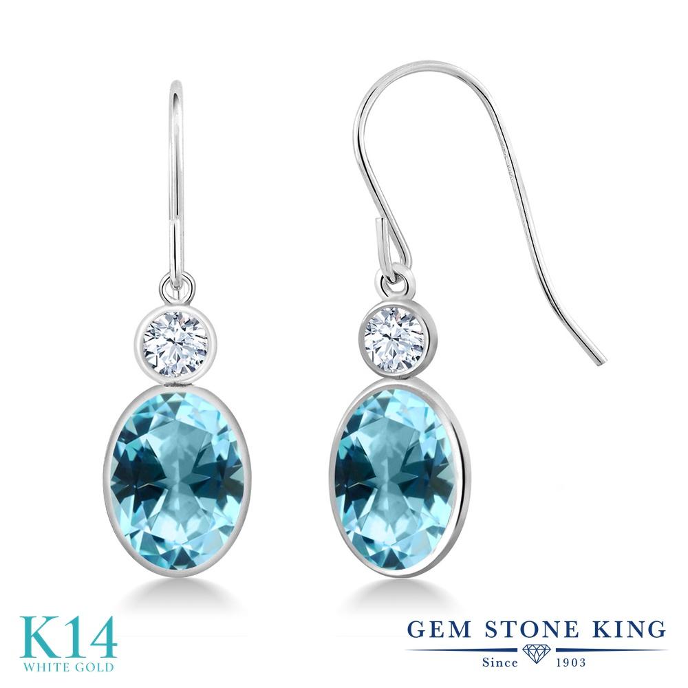 Gem Stone King 2.9カラット 天然石トパーズ アイスブルー(スワロフスキー 天然石シリーズ) 合成ホワイトサファイア(ダイヤのような無色透明) 14金 ホワイトゴールド(K14) ピアス レディース 大粒 ぶら下がり フレンチワイヤー 天然石 金属アレルギー対応 誕生日プレゼント