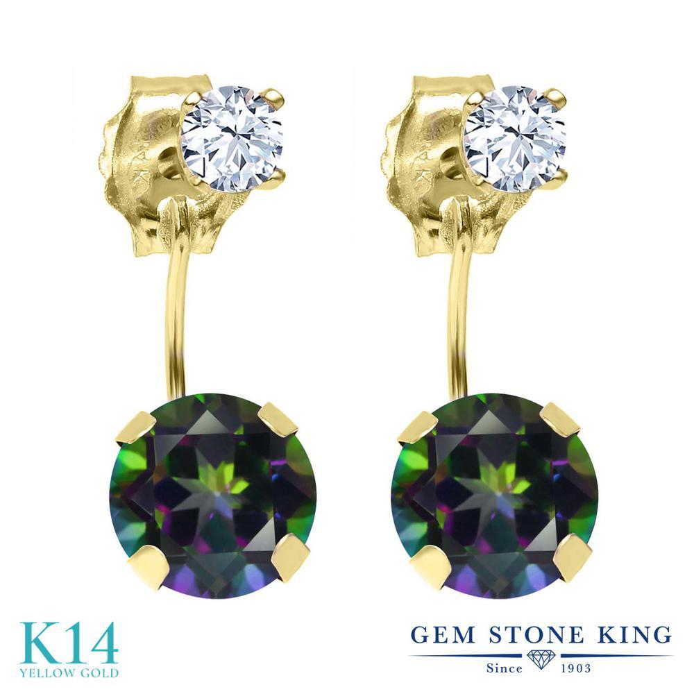 Gem Stone King 2.28カラット 天然石 ミスティックトパーズ (グリーン) 天然 トパーズ (無色透明) 14金 イエローゴールド(K14) ピアス レディース 大粒 ぶら下がり 天然石 金属アレルギー対応 誕生日プレゼント