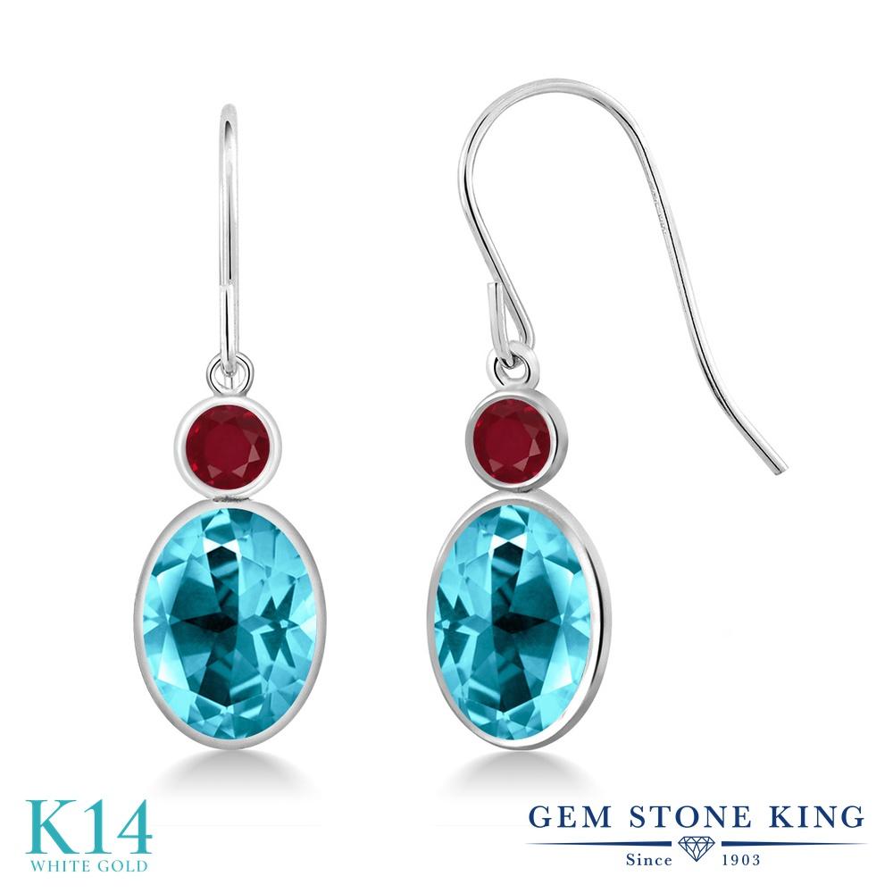 Gem Stone King 3.28カラット 天然石 パライバトパーズ (スワロフスキー 天然石シリーズ) 天然 ルビー 14金 ホワイトゴールド(K14) ピアス レディース 大粒 ぶら下がり フレンチワイヤー 天然石 金属アレルギー対応 誕生日プレゼント