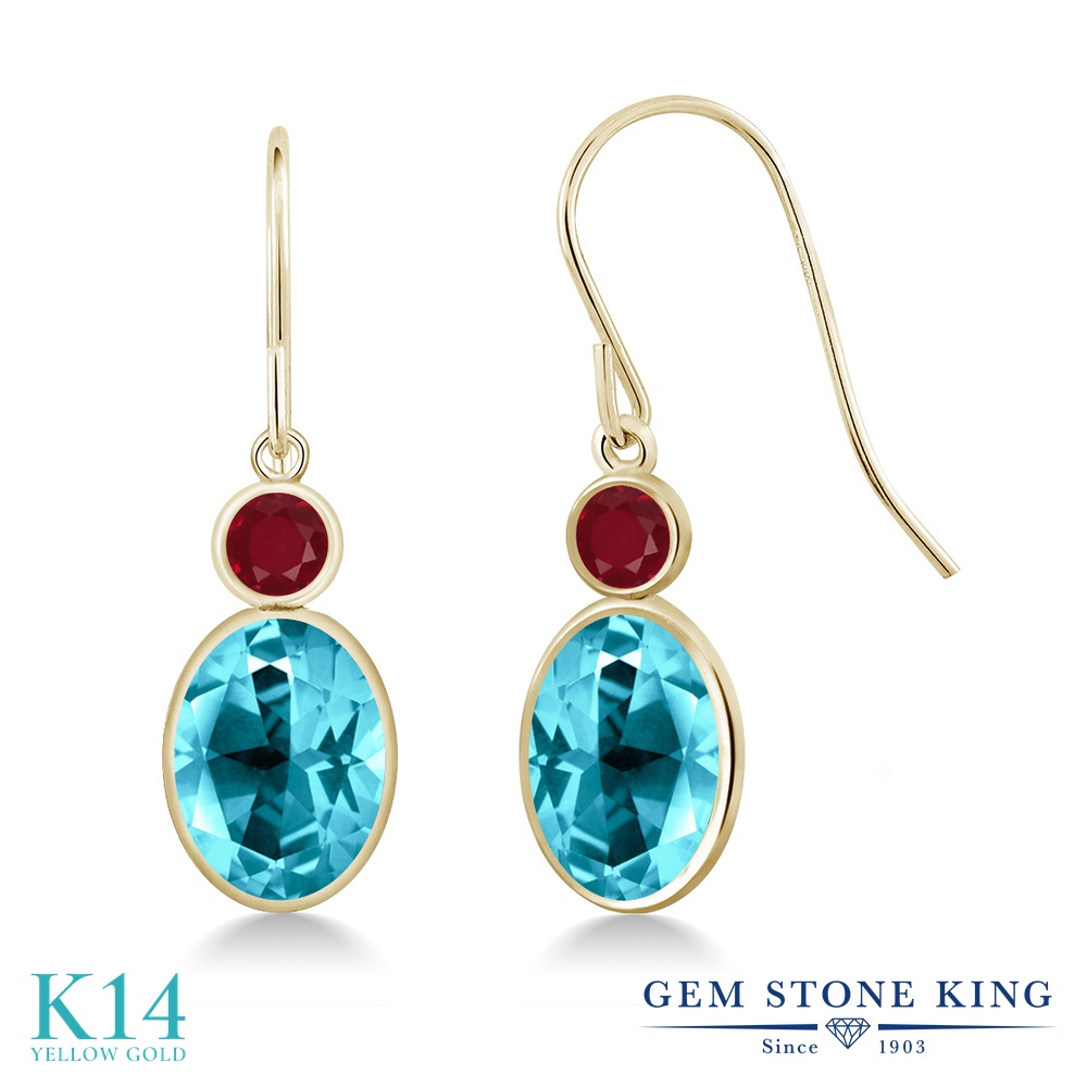 Gem Stone King 3.28カラット 天然石 パライバトパーズ (スワロフスキー 天然石シリーズ) 天然 ルビー 14金 イエローゴールド(K14) ピアス レディース 大粒 ぶら下がり フレンチワイヤー 天然石 金属アレルギー対応 誕生日プレゼント