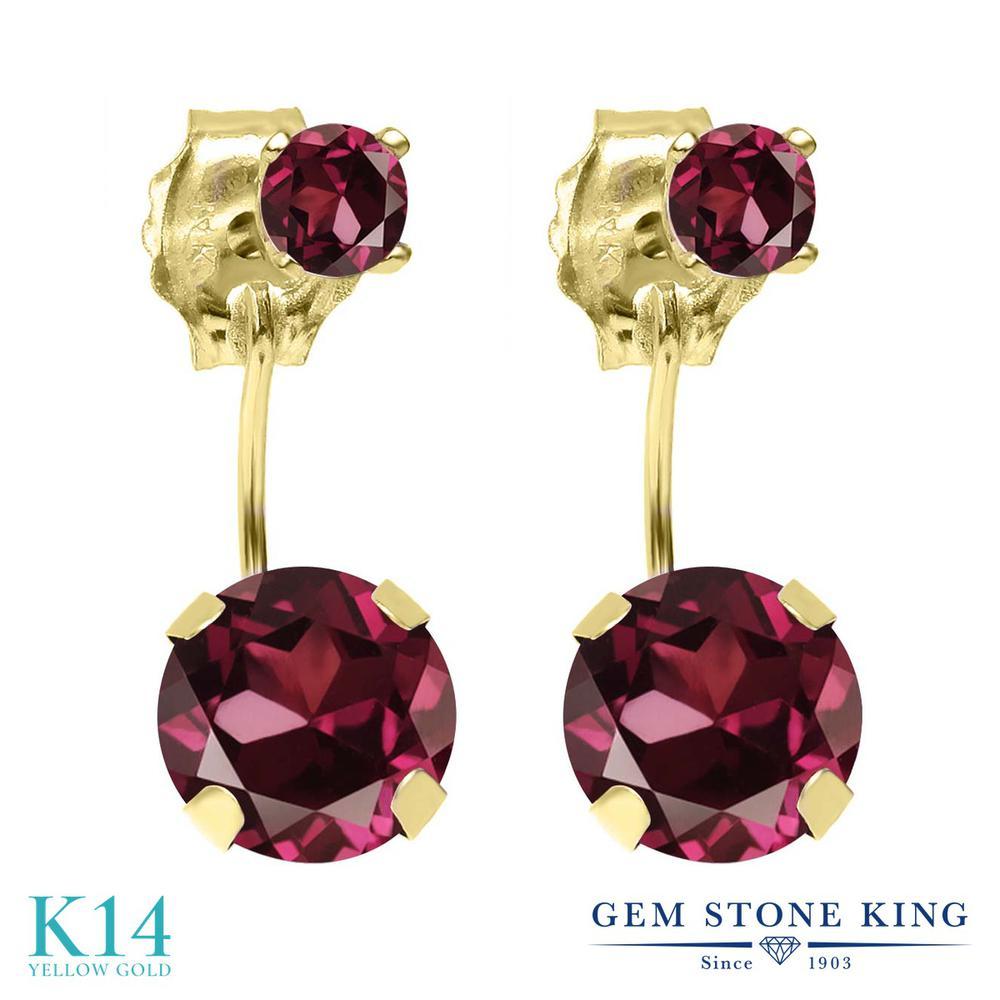 Gem Stone King 2.24カラット 天然 ロードライトガーネット 14金 イエローゴールド(K14) ピアス レディース 大粒 ぶら下がり 天然石 金属アレルギー対応 誕生日プレゼント