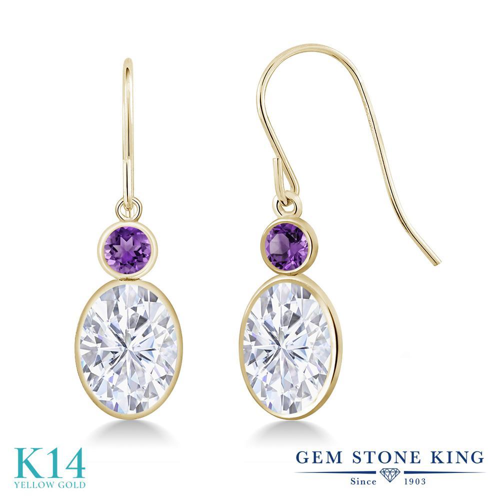Gem Stone King 3.2カラット Forever One GHI モアッサナイト Charles & Colvard 天然アメジスト 14金 イエローゴールド(K14) ピアス レディース 大粒 誕生日プレゼント