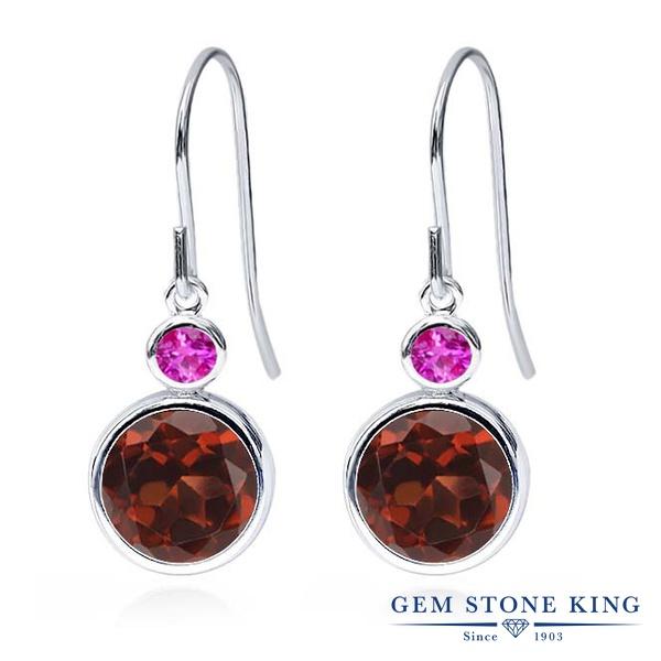 Gem Stone King 3.96カラット 天然 ガーネット 天然 ピンクサファイア シルバー925 ピアス レディース 大粒 ぶら下がり フレンチワイヤー 天然石 1月 誕生石 金属アレルギー対応 誕生日プレゼント