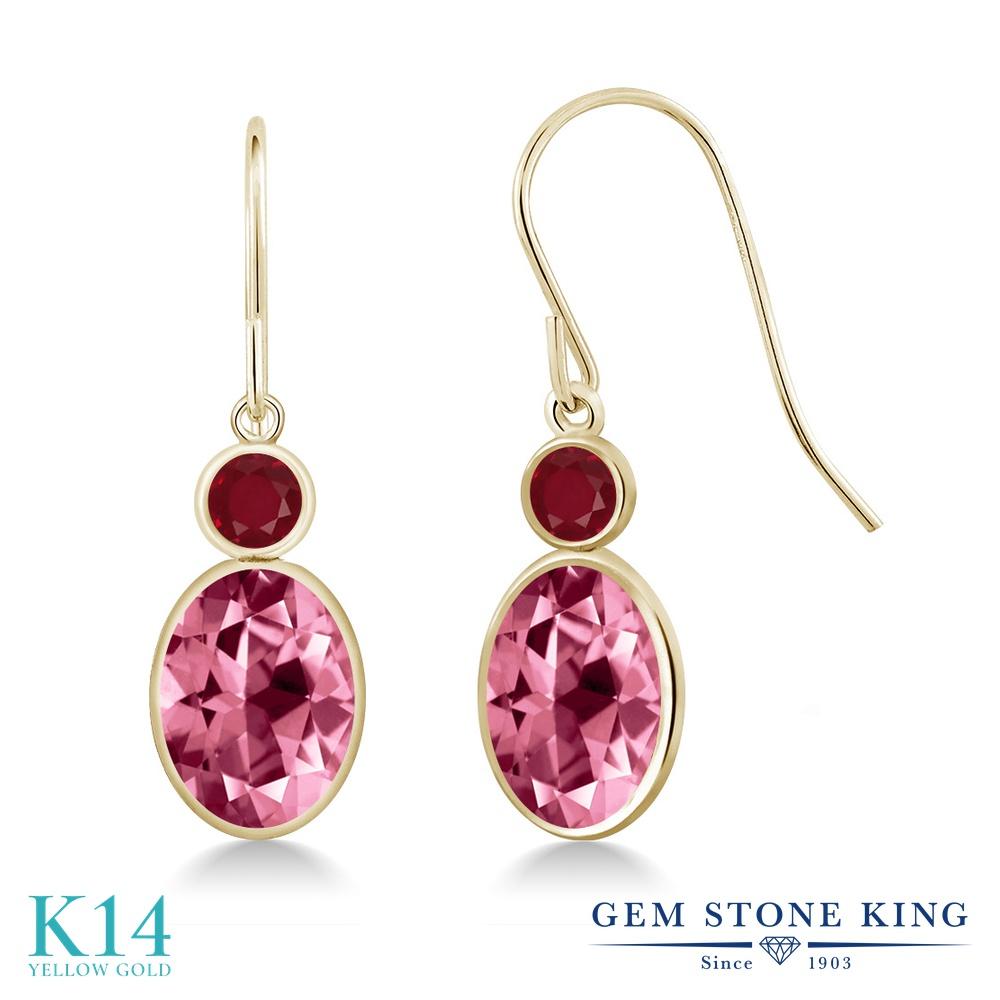 Gem Stone King 3.28カラット 天然石 ピンクトパーズ (スワロフスキー 天然石シリーズ) 天然 ルビー 14金 イエローゴールド(K14) ピアス レディース 大粒 ぶら下がり フレンチワイヤー 天然石 金属アレルギー対応 誕生日プレゼント