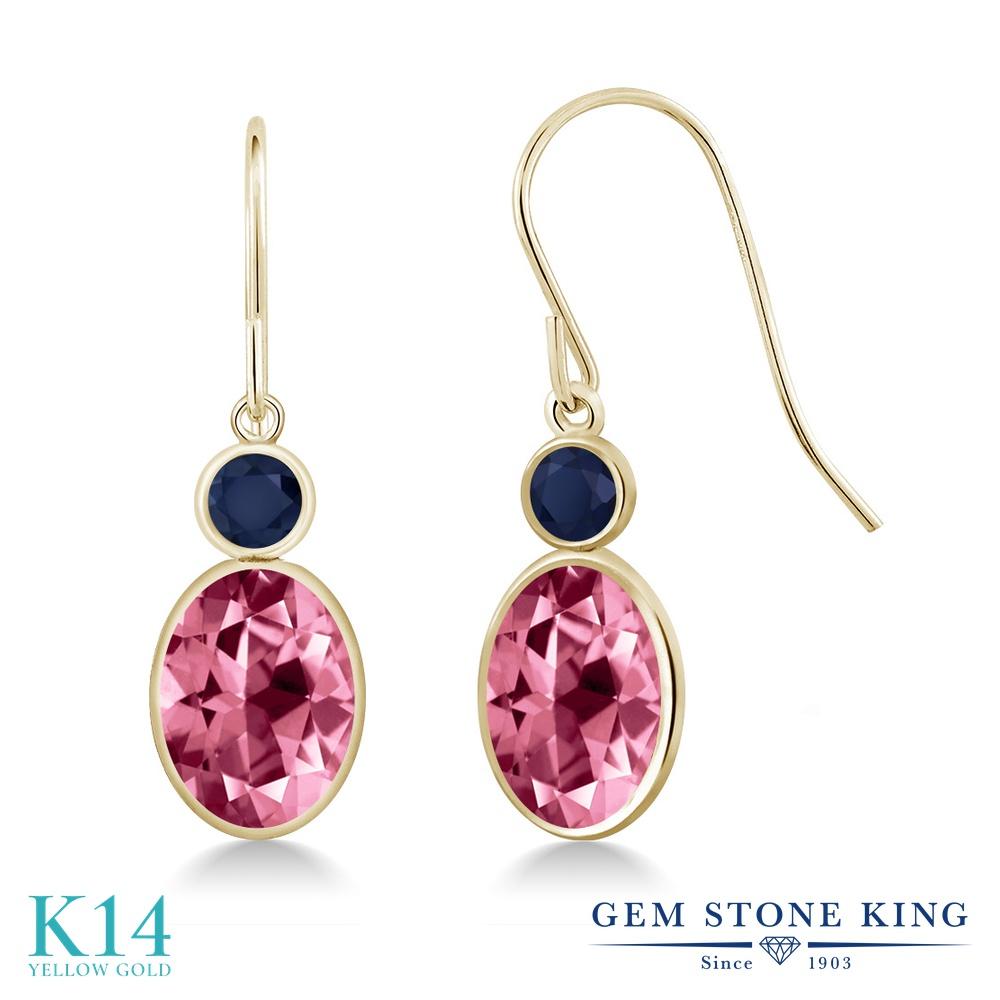 Gem Stone King 3.26カラット 天然石 ピンクトパーズ (スワロフスキー 天然石シリーズ) 天然 サファイア 14金 イエローゴールド(K14) ピアス レディース 大粒 ぶら下がり フレンチワイヤー 天然石 金属アレルギー対応 誕生日プレゼント
