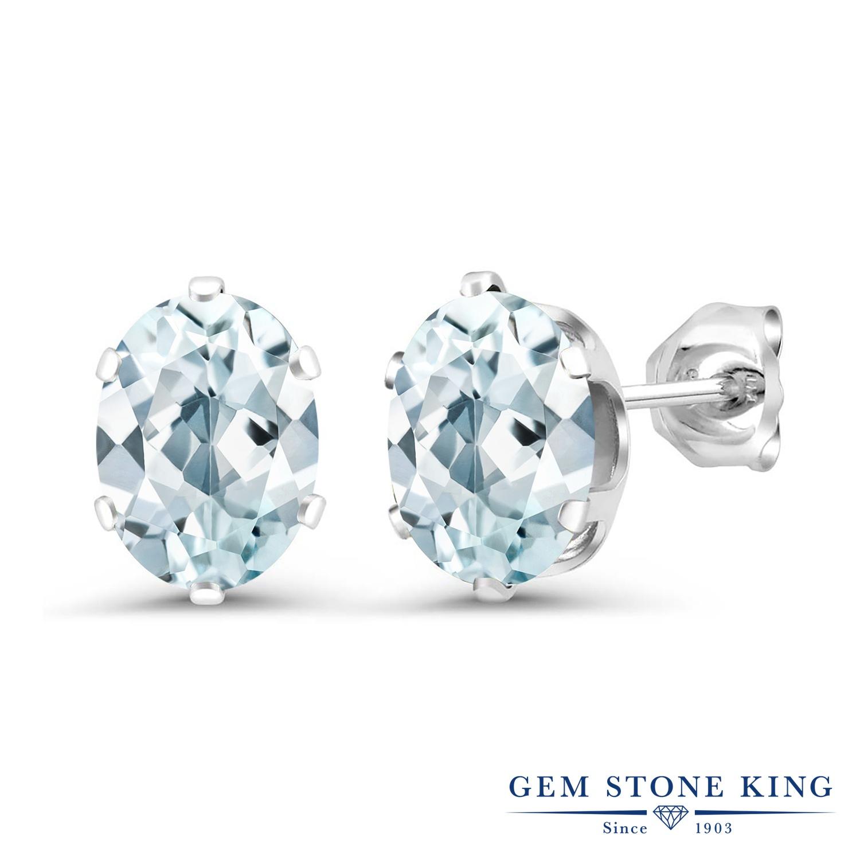 Gem Stone King 2.2カラット 天然 アクアマリン シルバー925 ピアス レディース 大粒 シンプル スタッド 天然石 3月 誕生石 金属アレルギー対応 誕生日プレゼント