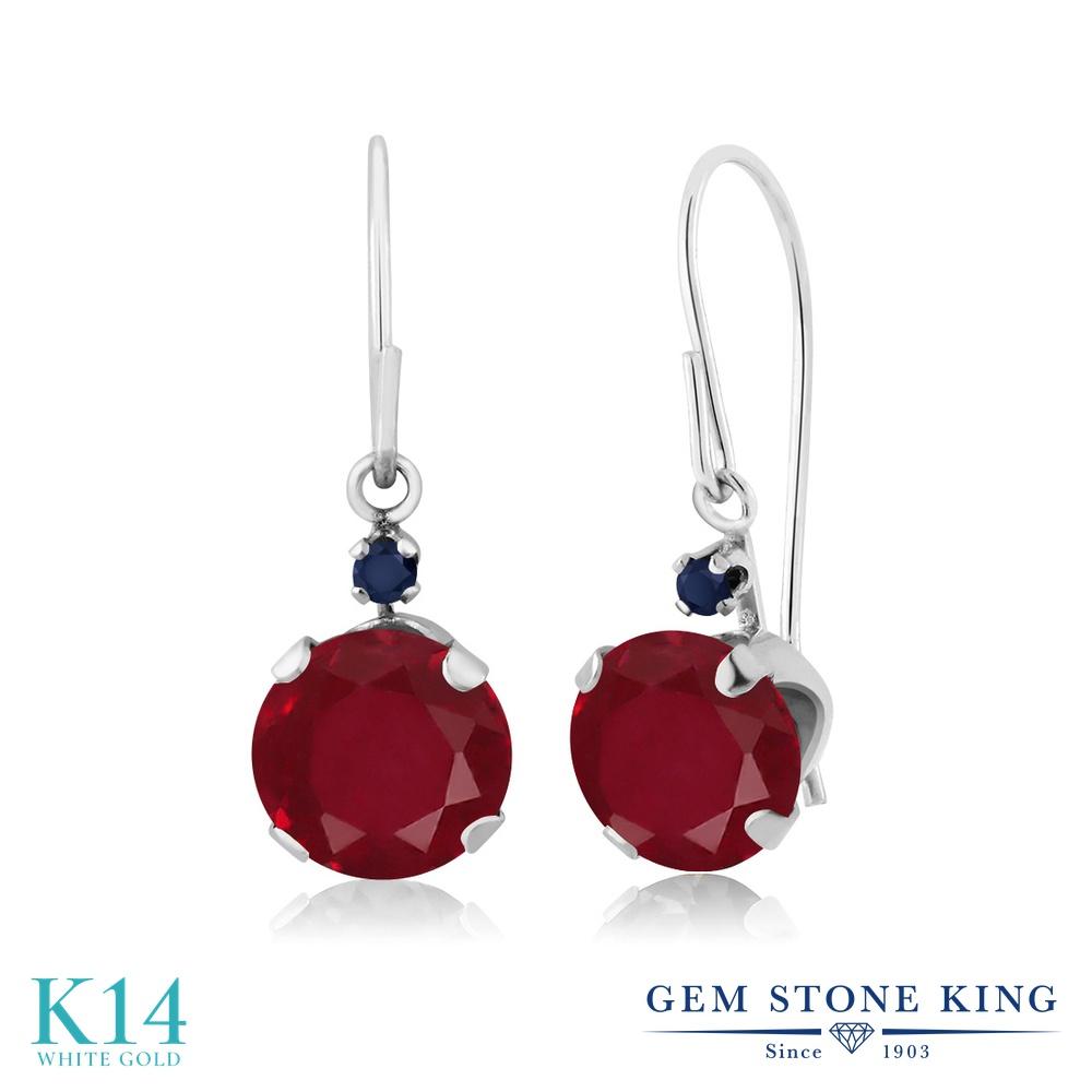 Gem Stone King 2.14カラット 天然 ルビー 天然 サファイア 14金 ホワイトゴールド(K14) ピアス レディース 大粒 ぶら下がり アメリカン 揺れる 天然石 7月 誕生石 金属アレルギー対応 誕生日プレゼント