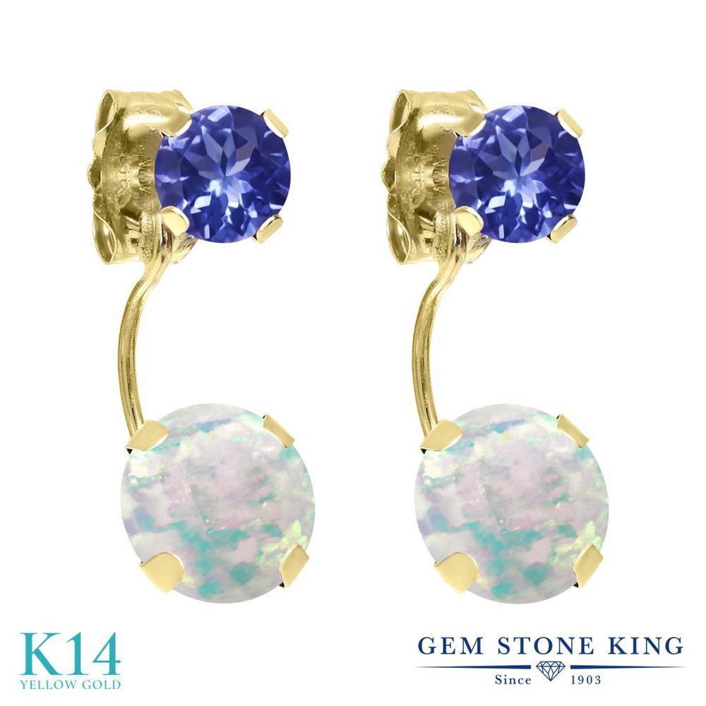 Gem Stone King 1.9カラット シミュレイテッド ホワイトオパール 天然石 タンザナイト 14金 イエローゴールド(K14) ピアス レディース ぶら下がり 10月 誕生石 金属アレルギー対応 誕生日プレゼント
