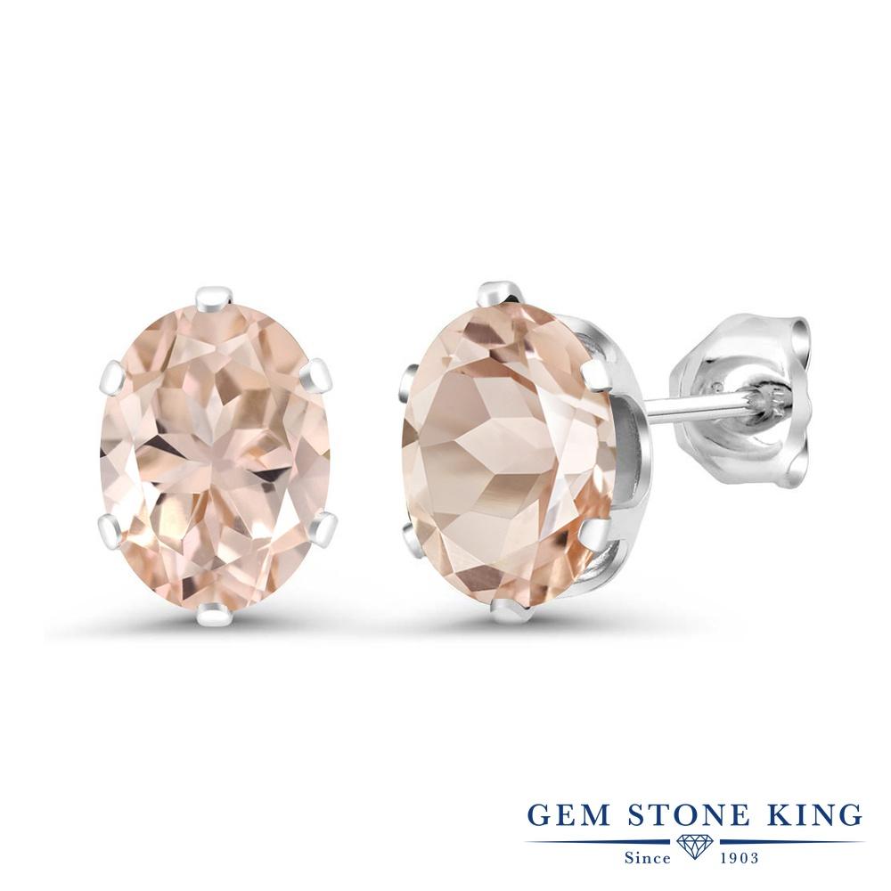 Gem Stone King 2カラット 天然 モルガナイト (ピーチ) シルバー925 ピアス レディース 大粒 シンプル スタッド 天然石 3月 誕生石 金属アレルギー対応 誕生日プレゼント