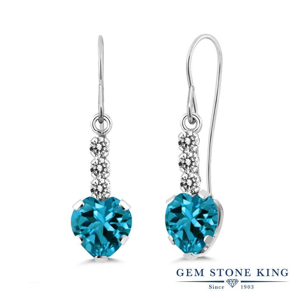 Gem Stone King 2.1カラット 天然 ロンドンブルートパーズ 天然 ダイヤモンド シルバー925 ピアス レディース ぶら下がり アメリカン 揺れる 天然石 11月 誕生石 金属アレルギー対応 誕生日プレゼント
