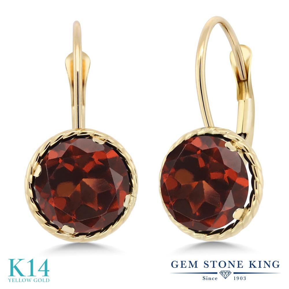 Gem Stone King 3.2カラット 天然 ガーネット 14金 イエローゴールド(K14) ピアス レディース 大粒 シンプル ぶら下がり レバーバック 天然石 1月 誕生石 金属アレルギー対応 誕生日プレゼント