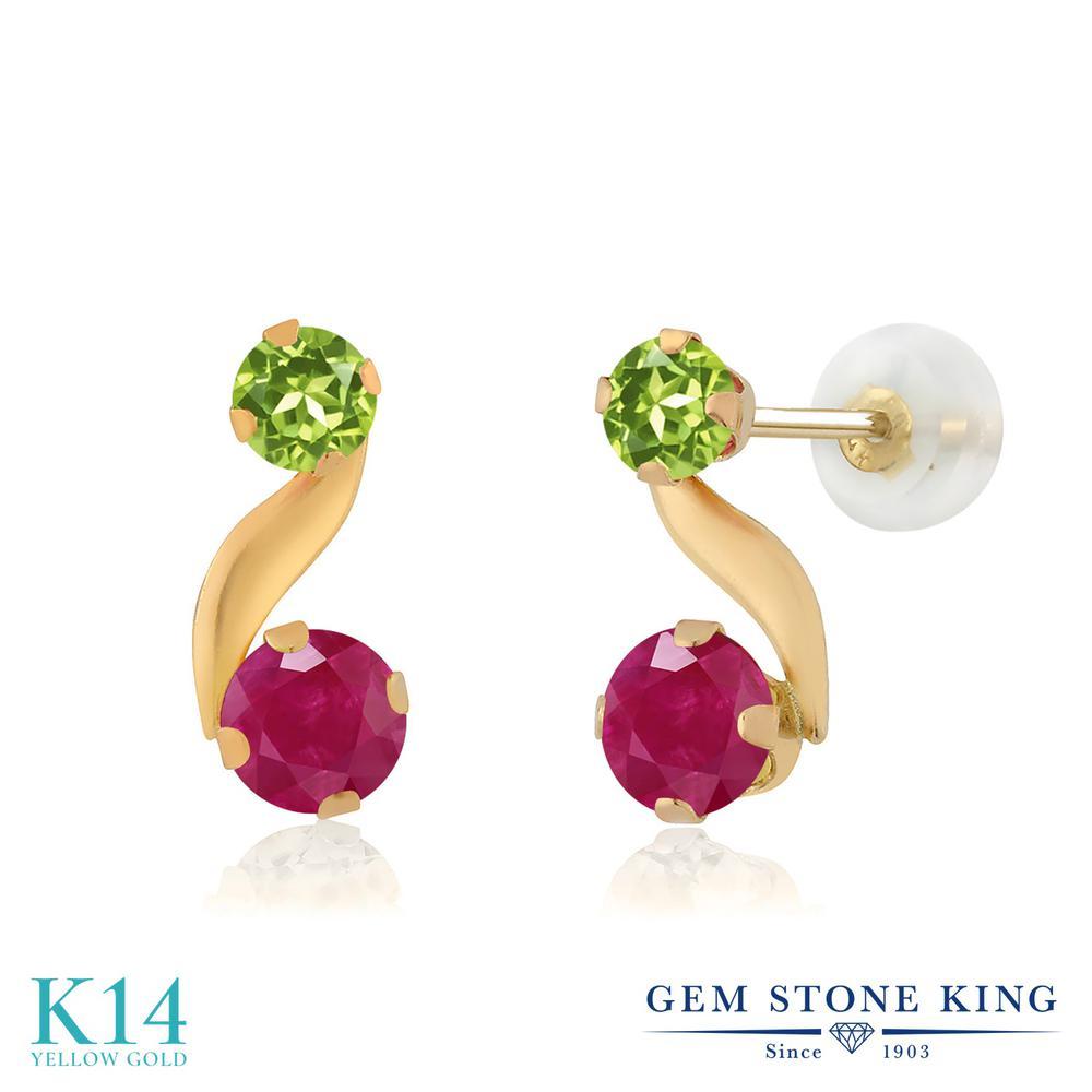 Gem Stone King 0.84カラット 天然 ルビー 天然石 ペリドット 14金 イエローゴールド(K14) ピアス レディース 小粒 スタッド 天然石 7月 誕生石 金属アレルギー対応 誕生日プレゼント