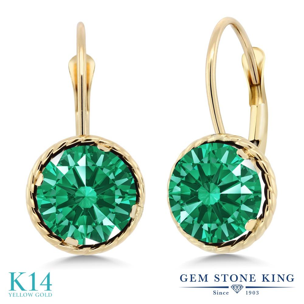 Gem Stone King スワロフスキージルコニア(グリーン) 14金 イエローゴールド(K14) ピアス レディース CZ 大粒 シンプル ぶら下がり レバーバック 金属アレルギー対応 誕生日プレゼント