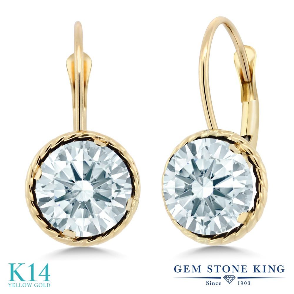 Gem Stone King スワロフスキージルコニア (無色透明) 14金 イエローゴールド(K14) ピアス レディース CZ 大粒 シンプル ぶら下がり レバーバック 金属アレルギー対応 誕生日プレゼント
