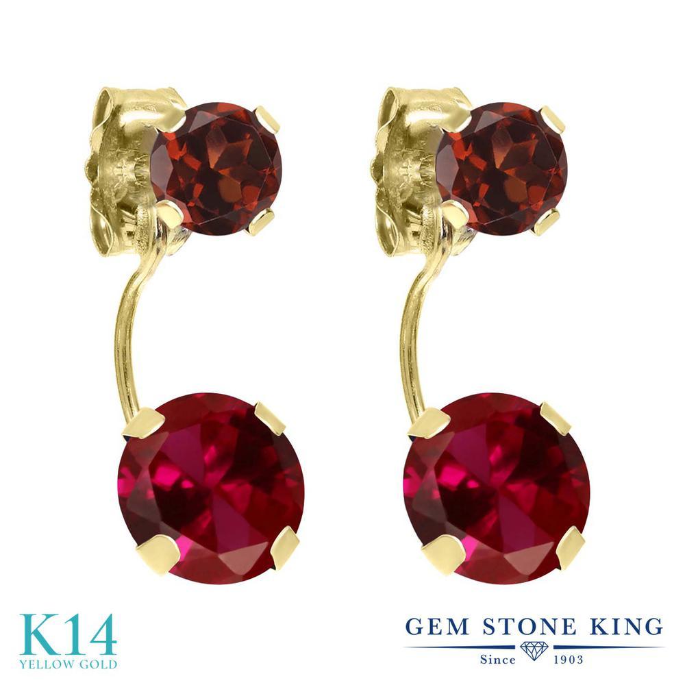 Gem Stone King 2.74カラット 合成ルビー 天然 ガーネット 14金 イエローゴールド(K14) ピアス レディース 大粒 ぶら下がり 金属アレルギー対応 誕生日プレゼント