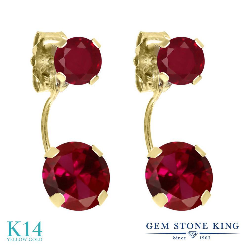 Gem Stone King 2.6カラット 合成ルビー 天然 ルビー 14金 イエローゴールド(K14) ピアス レディース 大粒 ぶら下がり 金属アレルギー対応 誕生日プレゼント