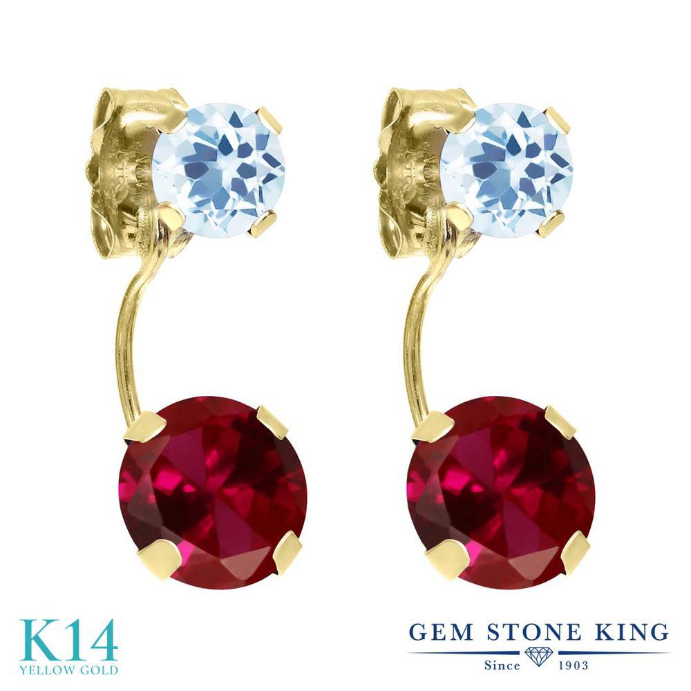 Gem Stone King 2.66カラット 合成ルビー 天然 スカイブルートパーズ 14金 イエローゴールド(K14) ピアス レディース 大粒 ぶら下がり 金属アレルギー対応 誕生日プレゼント