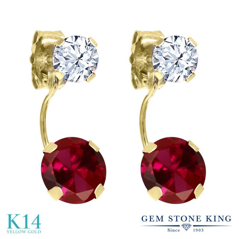 Gem Stone King 2.66カラット 合成ルビー 天然 トパーズ (無色透明) 14金 イエローゴールド(K14) ピアス レディース 大粒 ぶら下がり 金属アレルギー対応 誕生日プレゼント