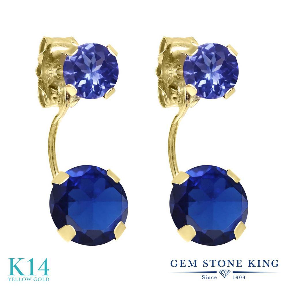 Gem Stone King 2.6カラット シミュレイテッド サファイア 天然石 タンザナイト ピアス レディース 14金 イエローゴールド K14 大粒 ぶら下がり 金属アレルギー対応