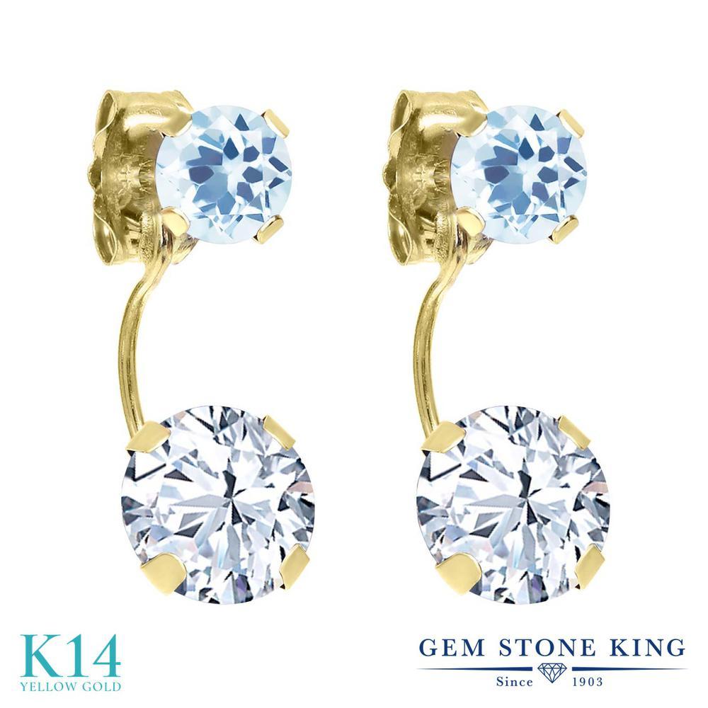 Gem Stone King 2.34カラット ジルコニア (無色透明) 天然 スカイブルートパーズ 14金 イエローゴールド(K14) ピアス レディース CZ ぶら下がり 金属アレルギー対応 誕生日プレゼント