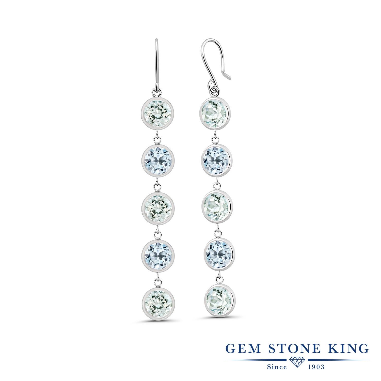 Gem Stone King 4.64カラット 天然 アクアマリン 天然 スカイブルートパーズ シルバー925 ピアス レディース ぶら下がり フレンチワイヤー 華奢 細身 天然石 3月 誕生石 金属アレルギー対応 誕生日プレゼント
