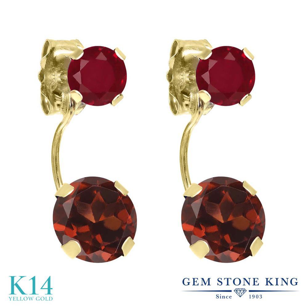 Gem Stone King 2.6カラット 天然 ガーネット 天然 ルビー 14金 イエローゴールド(K14) ピアス レディース 大粒 ぶら下がり 天然石 1月 誕生石 金属アレルギー対応 誕生日プレゼント