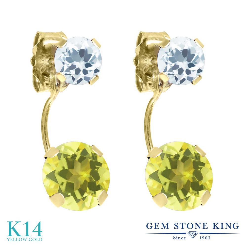 Gem Stone King 2.44カラット 天然石 ミスティックトパーズ (イエロー) 天然 アクアマリン 14金 イエローゴールド(K14) ピアス レディース 大粒 ぶら下がり 天然石 金属アレルギー対応 誕生日プレゼント