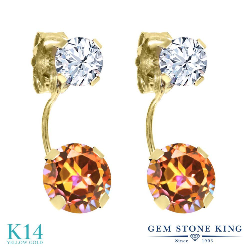 Gem Stone King 2.56カラット 天然石 エクスタシーミスティックトパーズ 天然 トパーズ (無色透明) 14金 イエローゴールド(K14) ピアス レディース ぶら下がり 天然石 金属アレルギー対応 誕生日プレゼント