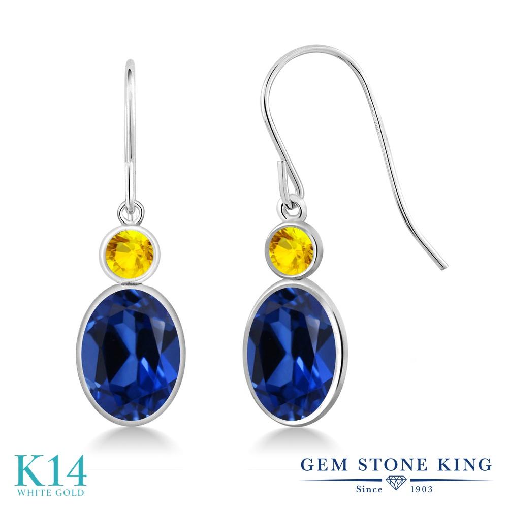 Gem Stone King 3.54カラット シミュレイテッド サファイア 天然 イエローサファイア 14金 ホワイトゴールド(K14) ピアス レディース 大粒 ぶら下がり フレンチワイヤー 金属アレルギー対応 誕生日プレゼント