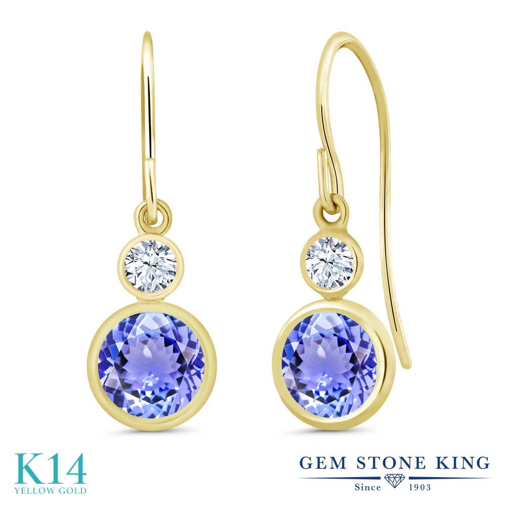 Gem Stone King 2.02カラット 天然石 タンザナイト 14金 イエローゴールド(K14) ピアス レディース ぶら下がり フレンチワイヤー 天然石 12月 誕生石 金属アレルギー対応 誕生日プレゼント