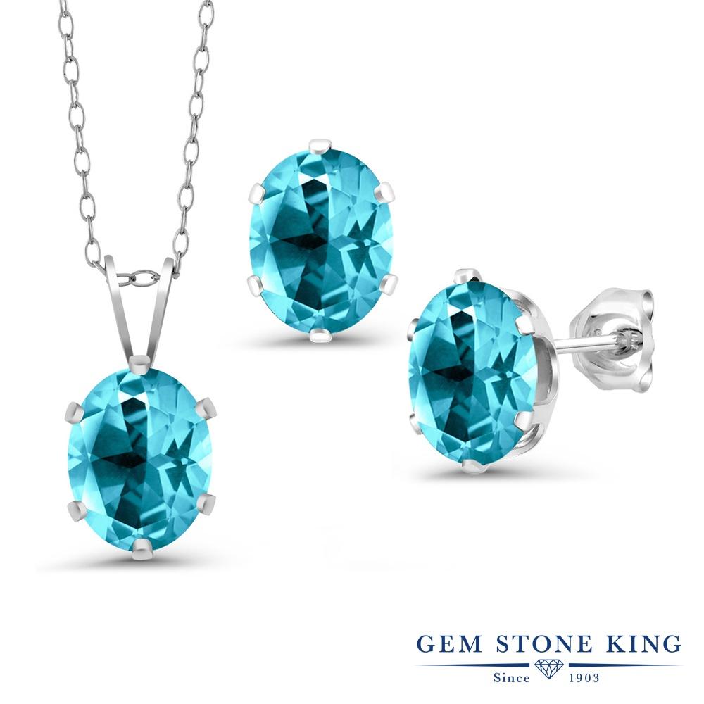Gem Stone King 3.96カラット 天然石トパーズ パライバ (スワロフスキー 天然石シリーズ) シルバー925 ペンダント&ピアスセット レディース 大粒 シンプル 天然石 誕生日プレゼント