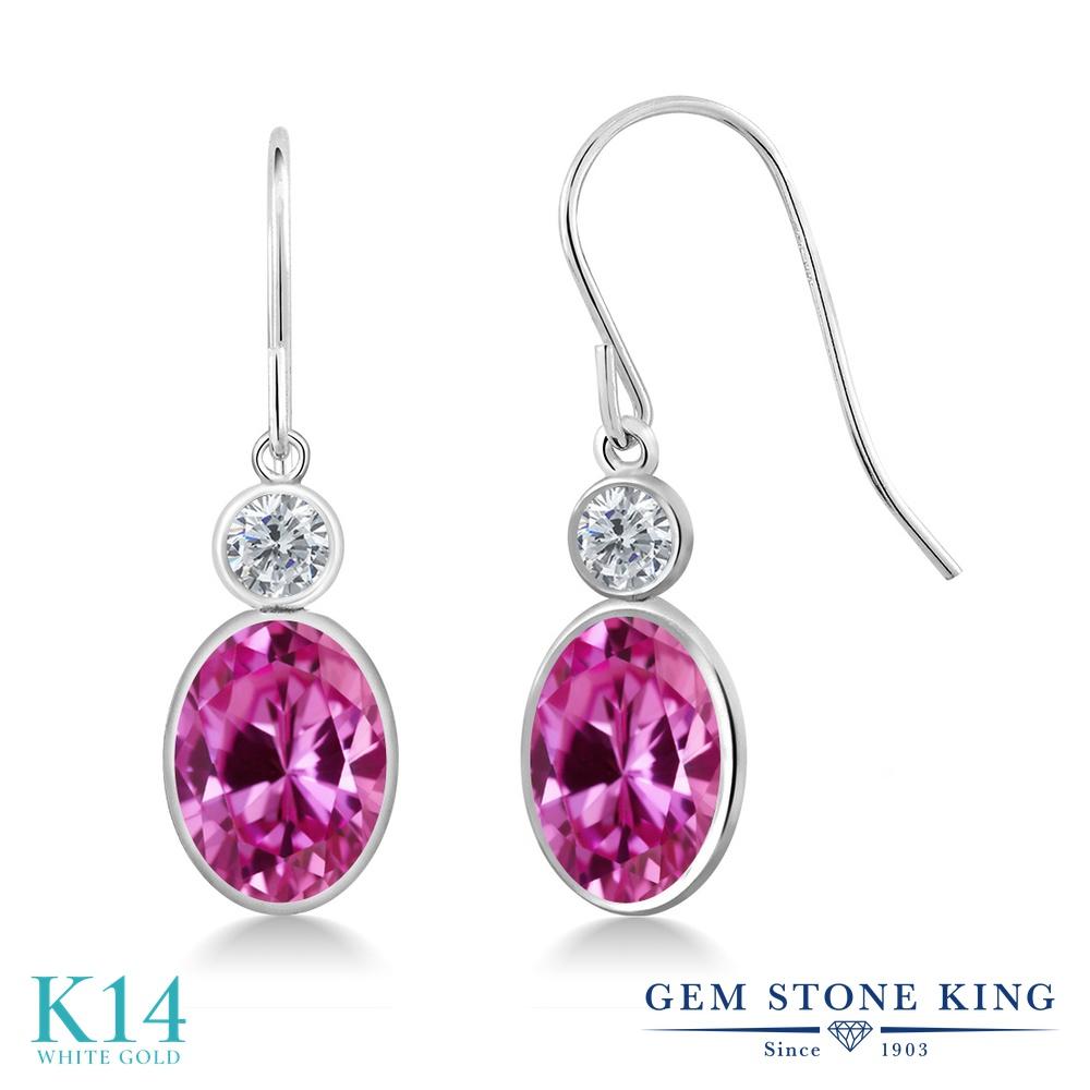 Gem Stone King 3.5カラット 合成ピンクサファイア 天然 ダイヤモンド 14金 ホワイトゴールド(K14) ピアス レディース 大粒 ぶら下がり フレンチワイヤー 金属アレルギー対応 誕生日プレゼント