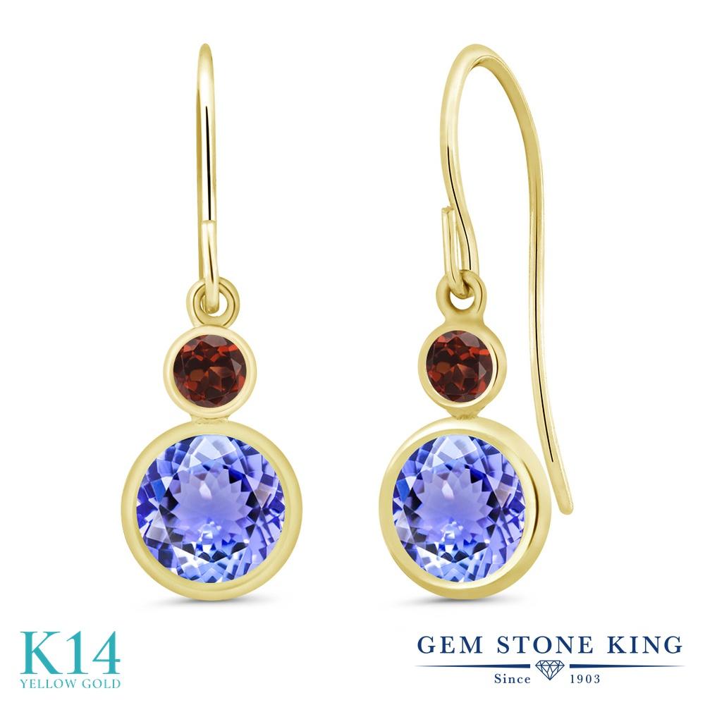Gem Stone King 2.04カラット 天然石 タンザナイト 天然 ガーネット 14金 イエローゴールド(K14) ピアス レディース ぶら下がり フレンチワイヤー 天然石 12月 誕生石 金属アレルギー対応 誕生日プレゼント