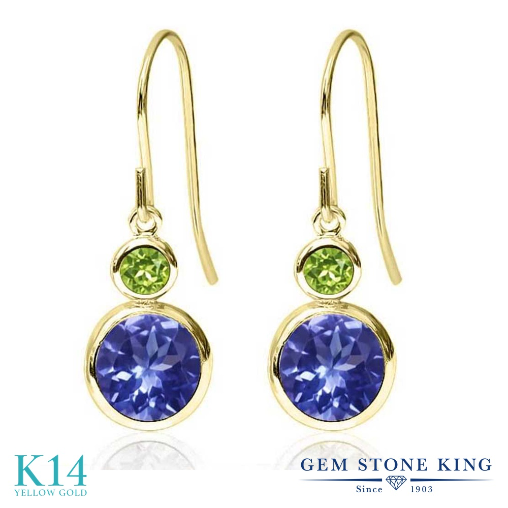 Gem Stone King 2.04カラット 天然石 タンザナイト 天然石 ペリドット 14金 イエローゴールド(K14) ピアス レディース ぶら下がり フレンチワイヤー 天然石 12月 誕生石 金属アレルギー対応 誕生日プレゼント