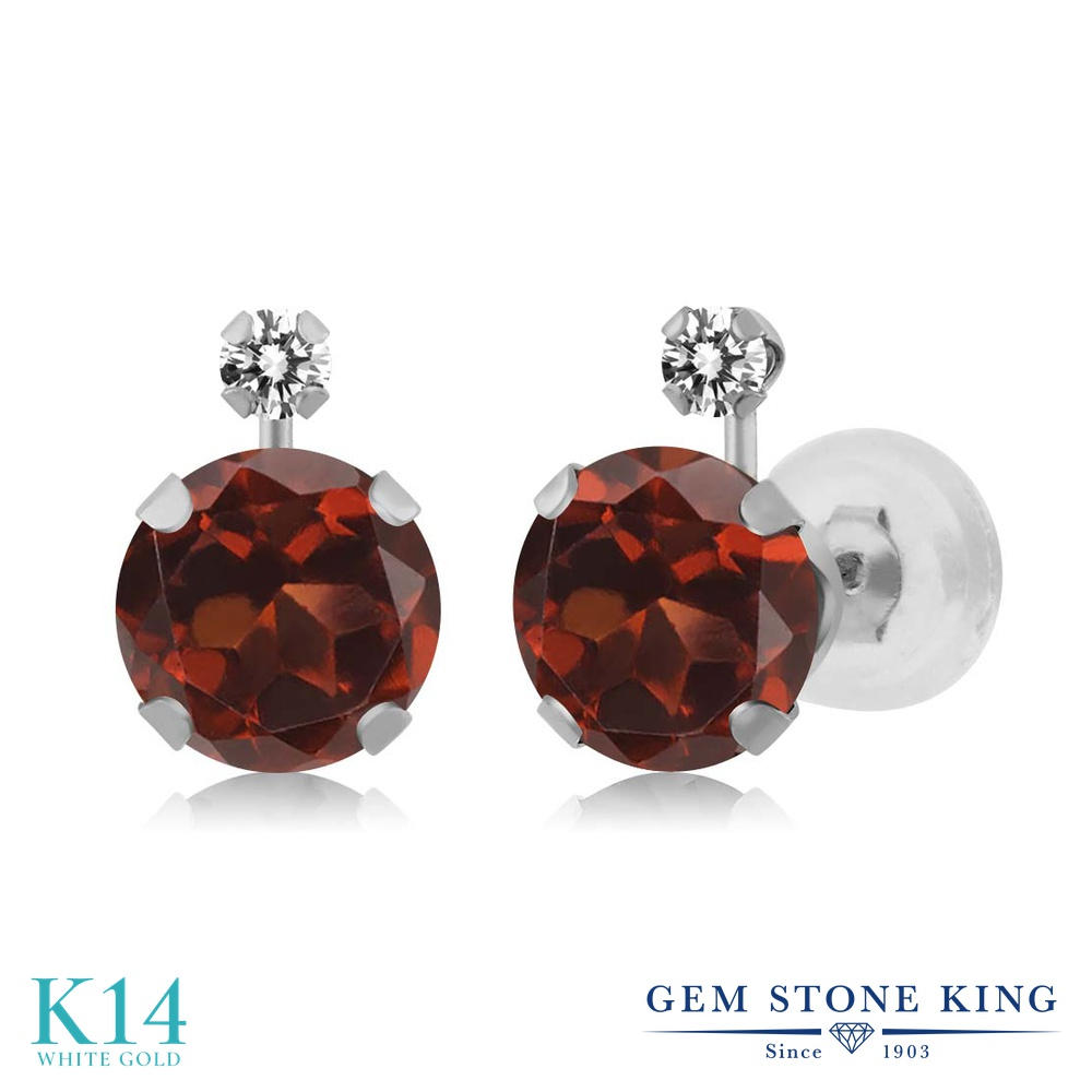 Gem Stone King 2.07カラット 天然 ガーネット 天然 ダイヤモンド 14金 ホワイトゴールド(K14) ピアス レディース 大粒 スタッド 天然石 1月 誕生石 金属アレルギー対応 誕生日プレゼント
