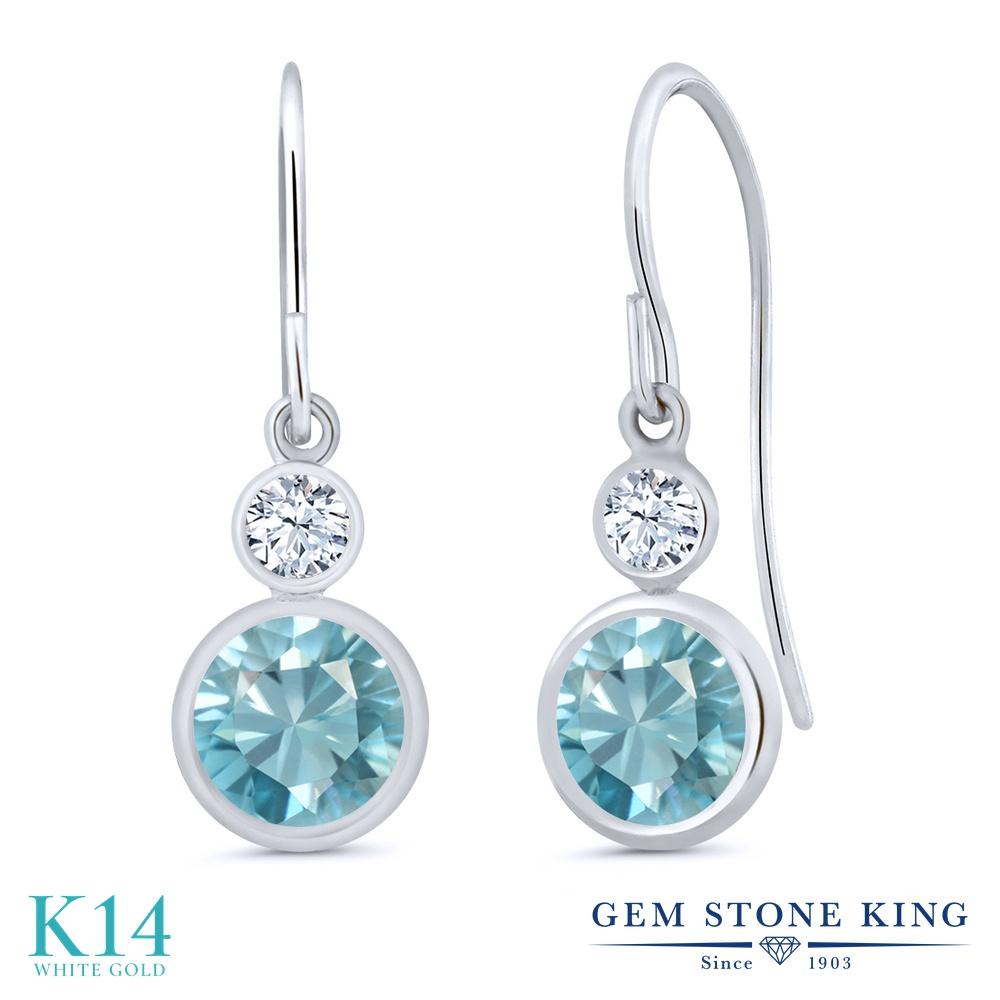 Gem Stone King 2.66カラット 天然石 ブルージルコン 合成ホワイトサファイア (ダイヤのような無色透明) 14金 ホワイトゴールド(K14) ピアス レディース 大粒 ぶら下がり フレンチワイヤー 天然石 12月 誕生石 金属アレルギー対応 誕生日プレゼント