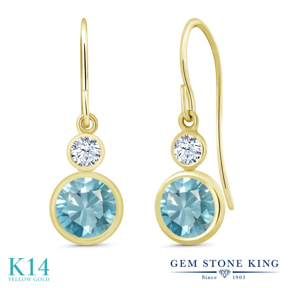 Gem Stone King 2.66カラット 天然石 ブルージルコン 合成ホワイトサファイア (ダイヤのような無色透明) 14金 イエローゴールド(K14) ピアス レディース 大粒 ぶら下がり フレンチワイヤー 天然石 12月 誕生石 金属アレルギー対応 誕生日プレゼント