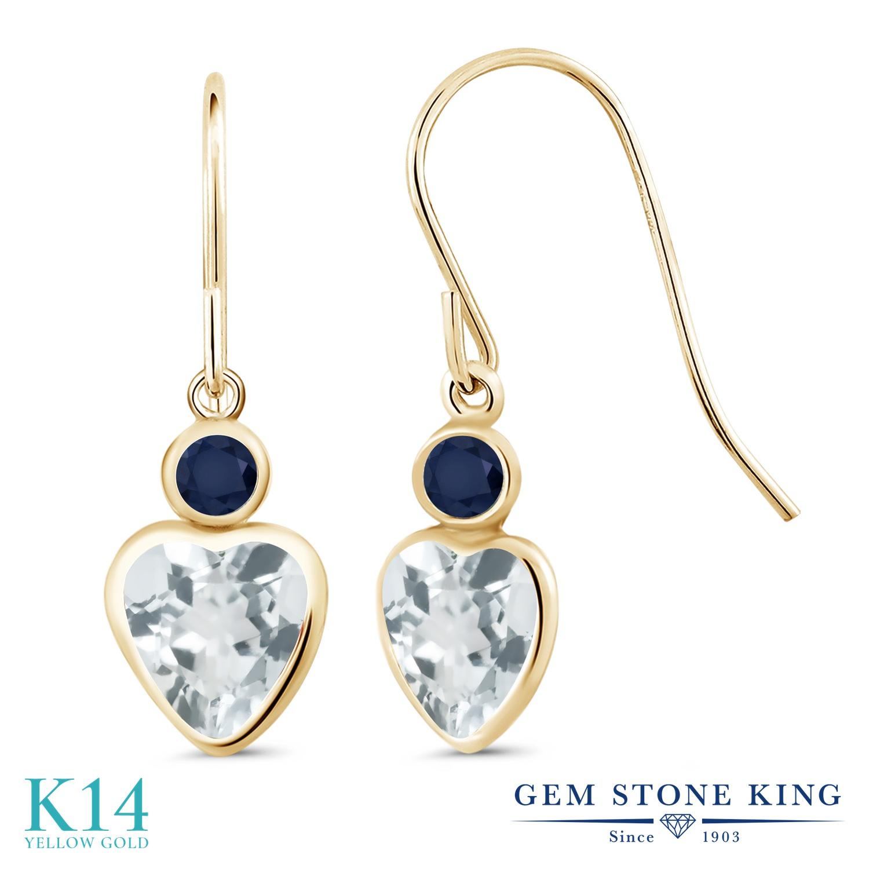 Gem Stone King 1.6カラット 天然 アクアマリン 天然 サファイア 14金 イエローゴールド(K14) ピアス レディース ぶら下がり フレンチワイヤー 天然石 3月 誕生石 金属アレルギー対応 誕生日プレゼント