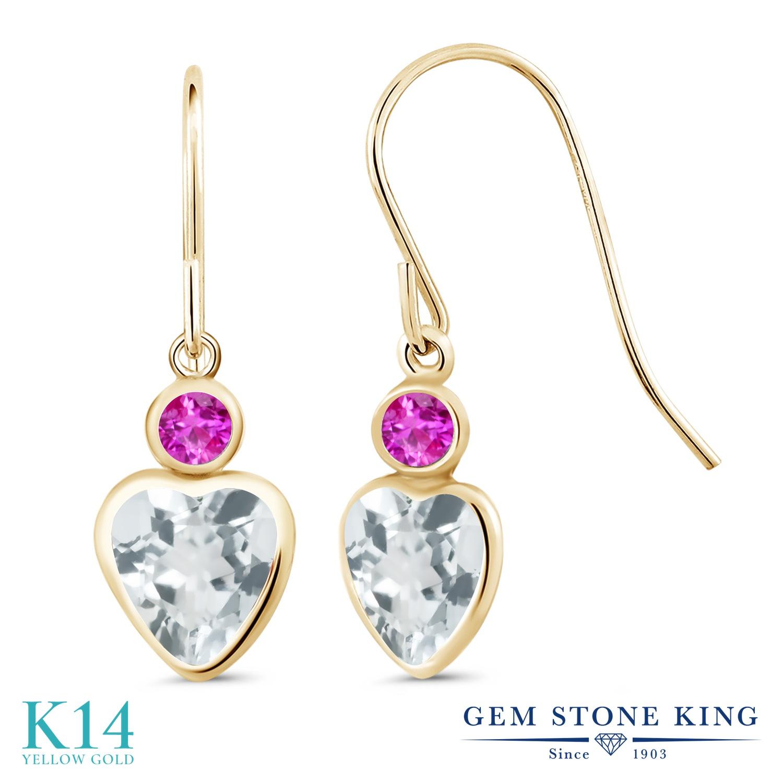 Gem Stone King 1.6カラット 天然 アクアマリン ピンクサファイア 14金 イエローゴールド(K14) ピアス レディース ぶら下がり フレンチワイヤー 天然石 3月 誕生石 金属アレルギー対応 誕生日プレゼント