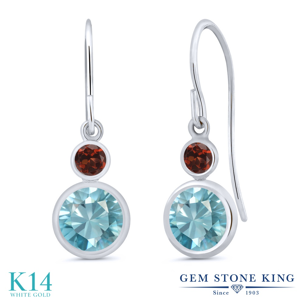Gem Stone King 2.64カラット 天然石 ブルージルコン 天然 ガーネット 14金 ホワイトゴールド(K14) ピアス レディース 大粒 ぶら下がり フレンチワイヤー 天然石 12月 誕生石 金属アレルギー対応 誕生日プレゼント