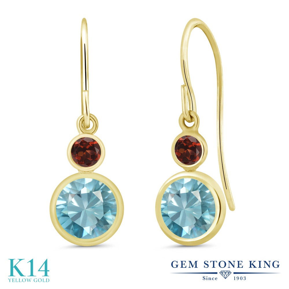 Gem Stone King 2.64カラット 天然石 ブルージルコン 天然 ガーネット 14金 イエローゴールド(K14) ピアス レディース 大粒 ぶら下がり フレンチワイヤー 天然石 12月 誕生石 金属アレルギー対応 誕生日プレゼント