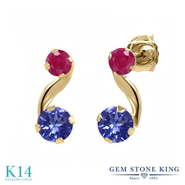 Gem Stone King 0.88カラット 天然石 タンザナイト 天然 ルビー 14金 イエローゴールド(K14) ピアス レディース 小粒 スタッド 天然石 12月 誕生石 金属アレルギー対応 誕生日プレゼント